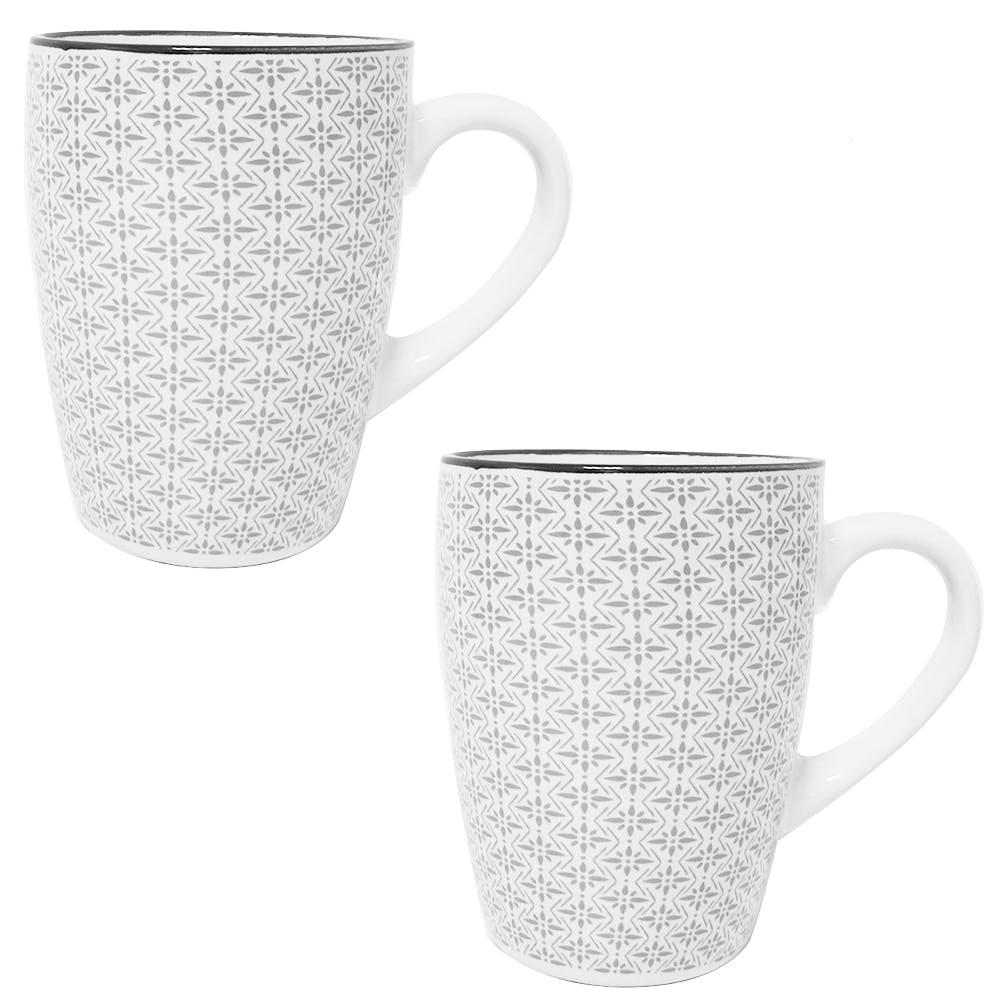 Lot de 2 mugs à anse flocons gris motifs japonais 30cL D8xH10cm