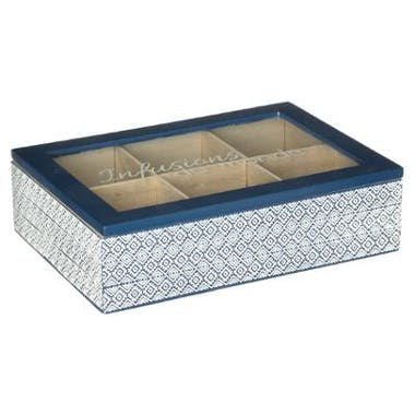 Boite à thé compartimentée style japonais en bois blanc et bleu 24x17xH6cm