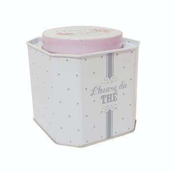 Boite à thé couvercle hexagonal en métal décor charme 10x10cm M2