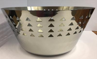 Corbeille ronde en inox ajouré forme triangles D28cm