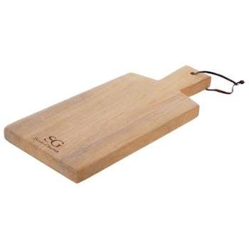 Planche à découper rectangle en bois avec poignée 38x16cm