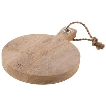 Planche à découper ronde en bois avec poignée 45x36cm
