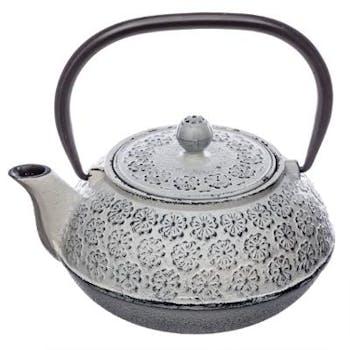Théière en fonte ton gris blanchi 1L Motifs en relief fleur H16cm