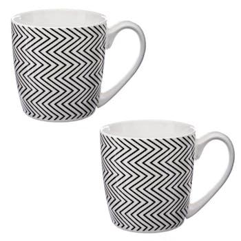 Lot de 2 mugs ronds à anse motif zigzags géométriques noirs D8xH11cm