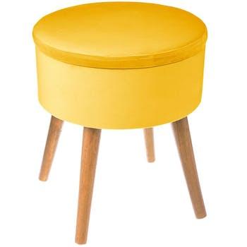 Tabouret coffre velours jaune moutarde pieds bois