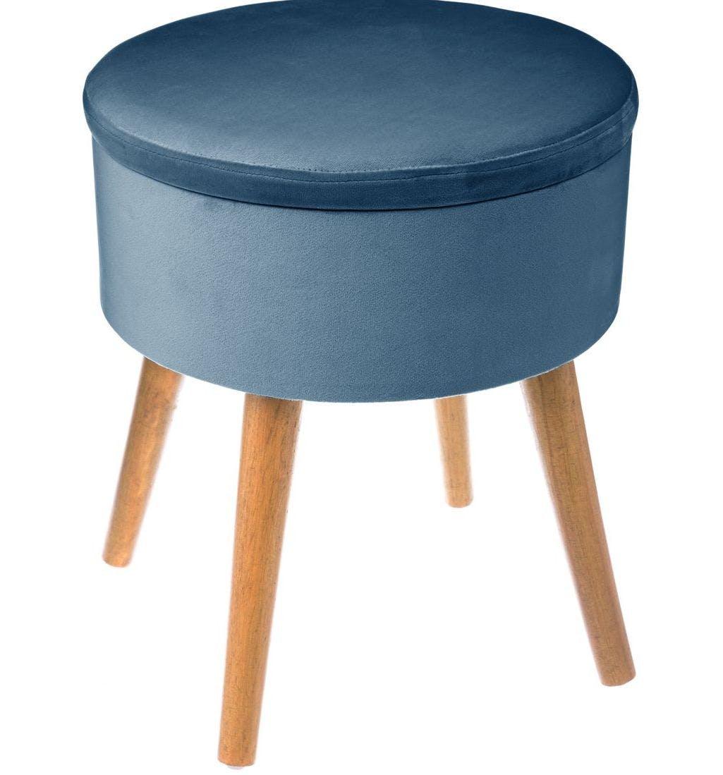 Tabouret Coffre en tissu velours couleur bleu nuit et pieds bois D38xH44cm