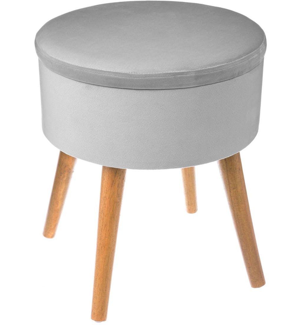 Tabouret Coffre en tissu velours gris clair et pieds bois D38xH44cm