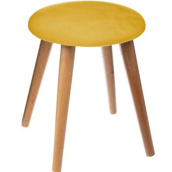 Tabouret velours jaune moutarde pieds bois
