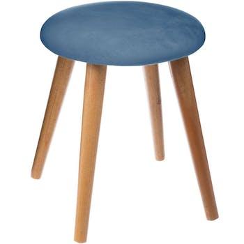 Tabouret assise tissu velours couleur bleu nuit et pieds bois D32xH40cm