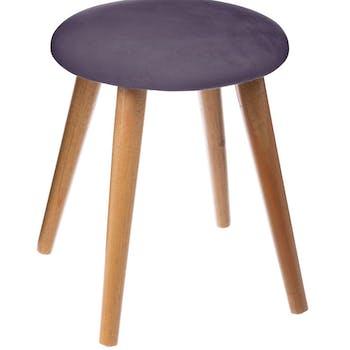 Tabouret assise tissu velours gris foncé et pieds bois D32xH40cm