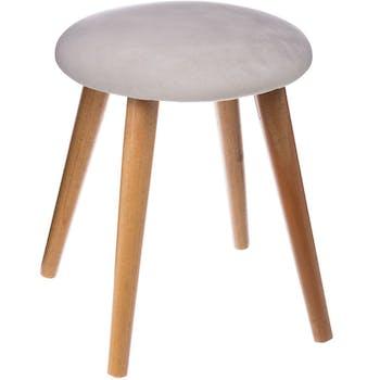 Tabouret assise tissu velours gris clair et pieds bois D32xH40cm