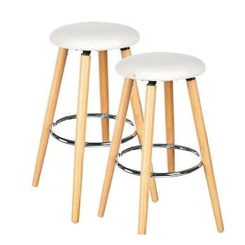 Lot de 2 Tabourets de Bar en bois assise couleur lin et pieds bois naturel avec support pieds en métal D37xH73cm