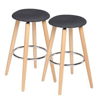 Lot de 2 Tabourets de Bar en bois assise gris foncé et pieds bois naturel avec support pieds en métal D37xH73cm
