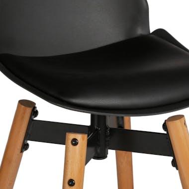 Chaise de Bar assise en PU noir et pieds bois naturel avec support pieds 50x50xH104,5cm