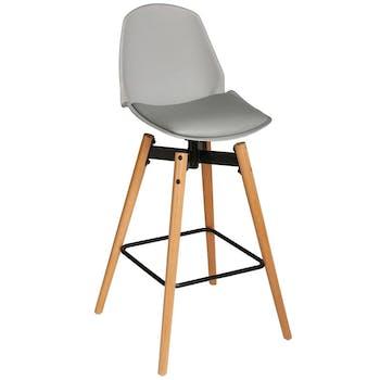 Chaise de Bar assise en PU gris clair et pieds bois naturel avec support pieds 50x50xH104,5cm