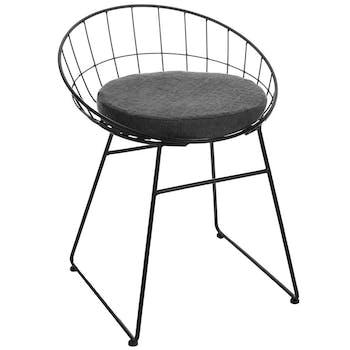 Chaise / Fauteuil Relax moderne en métal et coussin d'assise rond gris foncé 50x49xH64cm
