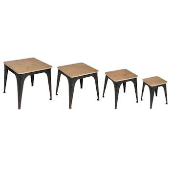 Table gigogne industrielle bois métal vieilli (lot de 4)