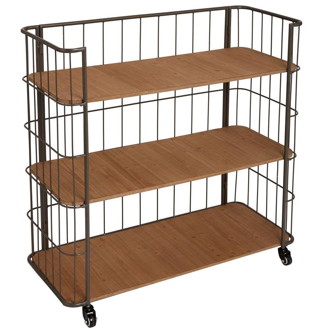 Etagère 3 étages en bois naturel et métal gris foncé à roulettes 94x39x90cm