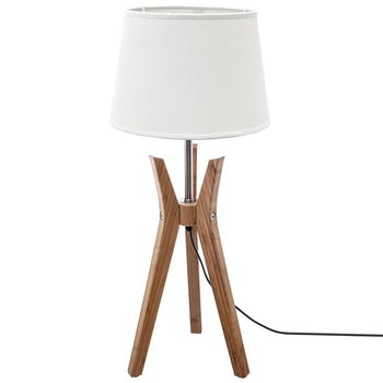 Lampe Trépied en bambou et abat-jour couleur lin H65cm