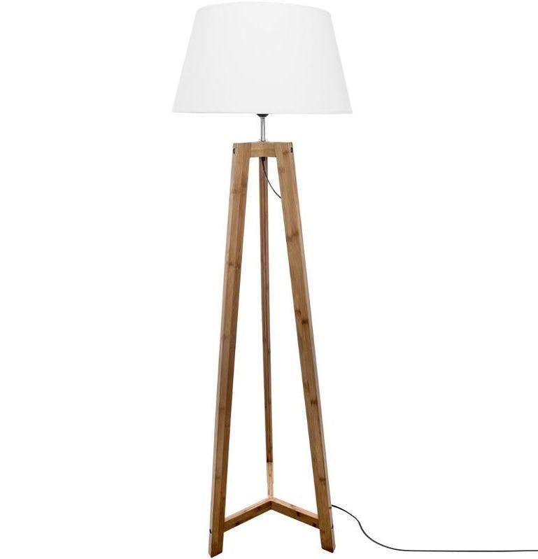 Lampadaire pied en bambou et abat-jour blanc H153cm