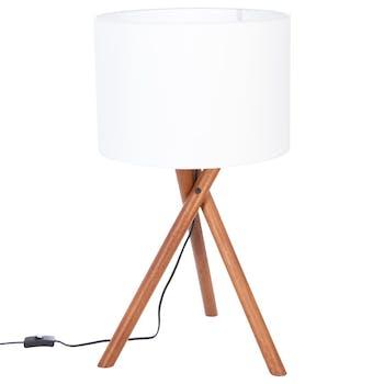 """Lampe Trépied en pin 3 pieds """"tournés"""" et abat-jour blanc H66cm"""
