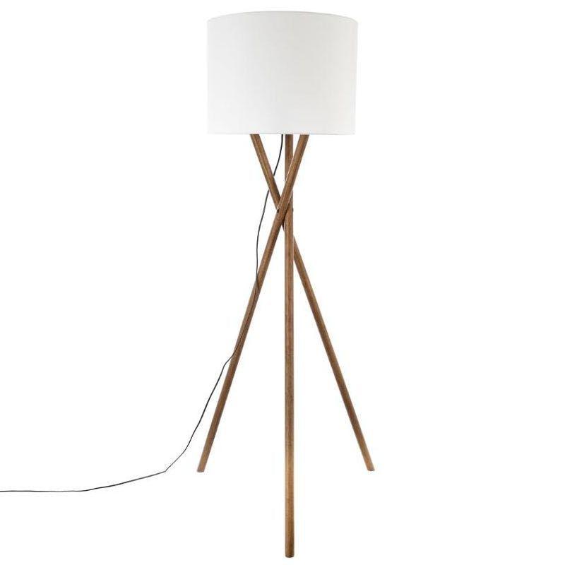 """Lampadaire Trépied en pin 3 pieds """"tournés"""" et abat-jour blanc H162cm"""