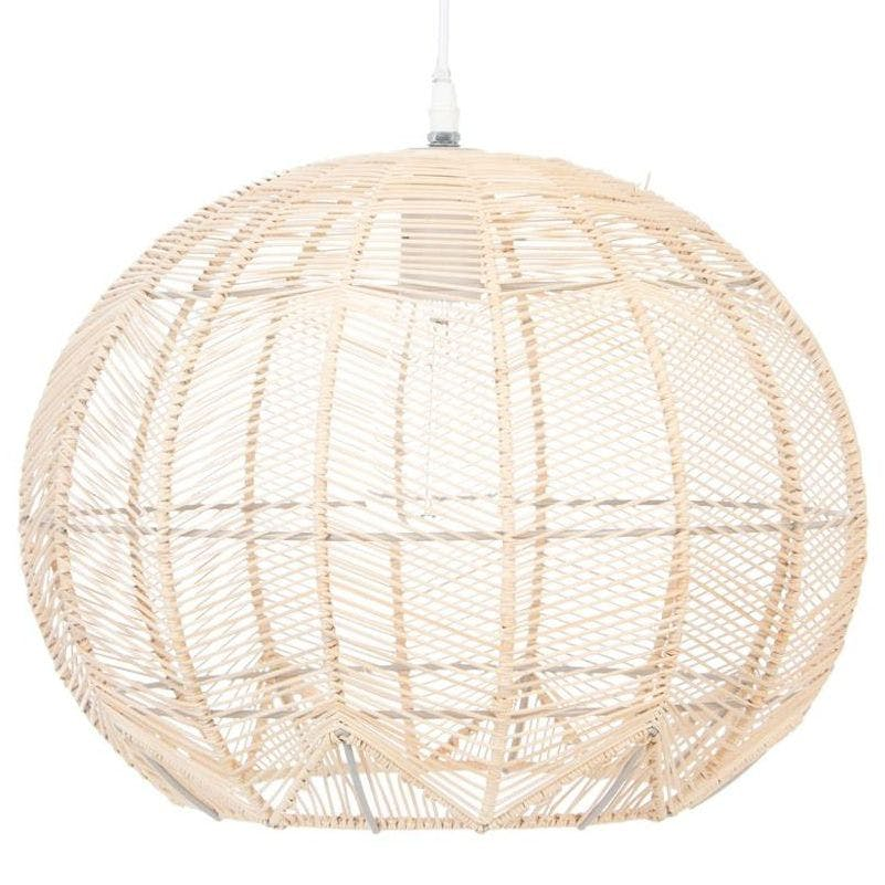 "Suspension forme ""boule"" en rotin naturel D38cm"
