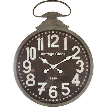 Horloge Gousset en métal aspect vieilli D52cm