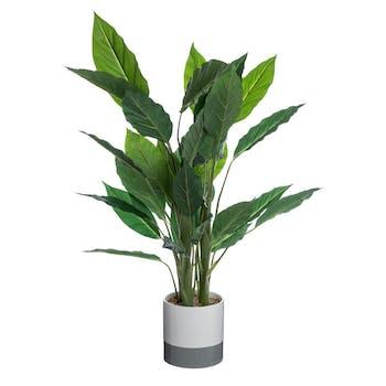 Plante verte artificielle longues feuilles dans pot en céramique bicolore blanc cassé et gris H120cm