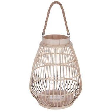 Lanterne en rotin couleur naturelle et verre avec anse en corde H44cm