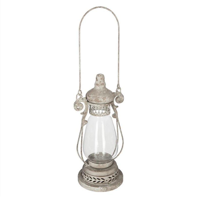 Lanterne ronde à suspendre ou à poser coloris gris D11x26cm