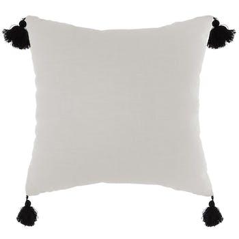 Coussin couleur ivoire et pompons noirs 45x45cm