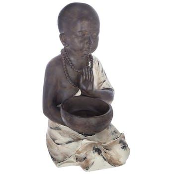 Bouddha assis en résine marron et beige H34cm