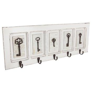 Patère en bois blanc 5 crochets en métal et décor clés 64x5x23cm