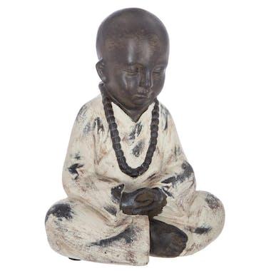 Bouddha assis en résine marron et beige 18x12x22cm