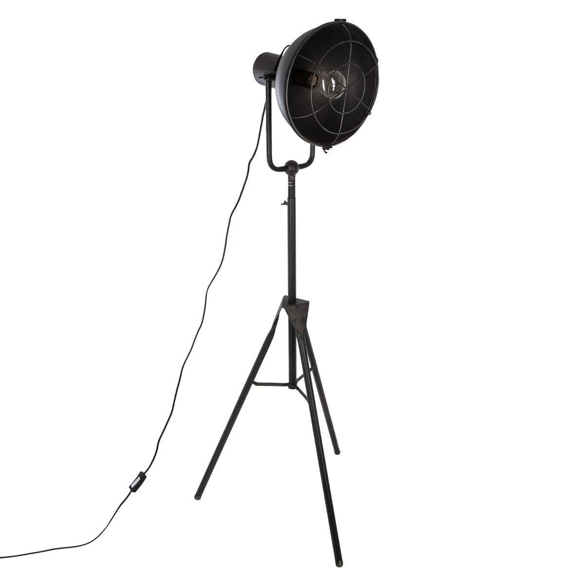 Lampadaire trépied spot en métal noir H150