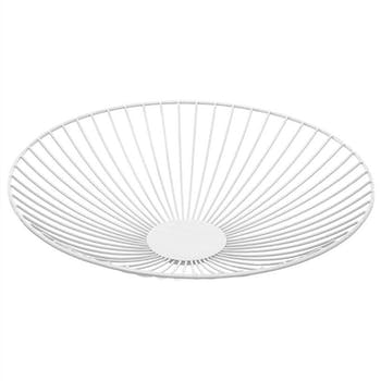 Corbeille ronde en métal blanc D35xH7,5cm