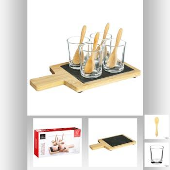 Set apéritif 9 pièces planche bambou et ardoise et 4 verres 23x7x13cm