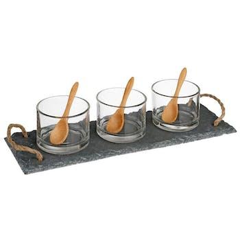 Set apéritif 7 pièces planche ardoise et 3 verres 30x11x6cm