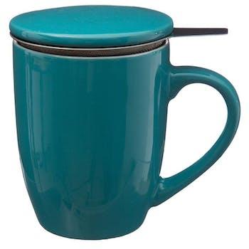 Tisanière en faïence coloris bleu 32cl