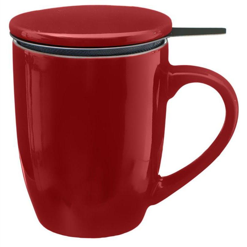 Tisanière en faïence coloris rouge 32cl