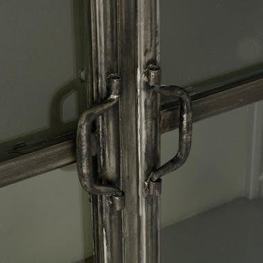 Bibliothèque vitrée métal noir 2 portes