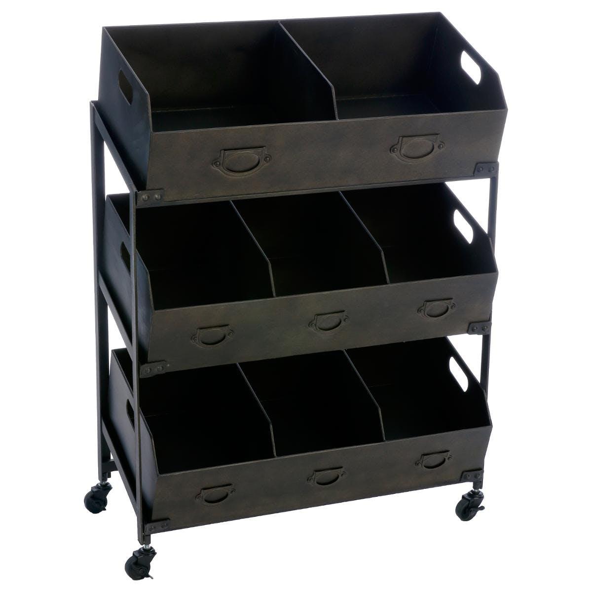 Meuble de rangement en métal 8 casiers 78x40x106cm