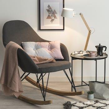 Rocking-chair en tissu gris pieds métal et bois 95x65x89cm