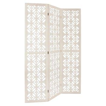 Paravent en bois ajouré coloris blanc 120x170cm