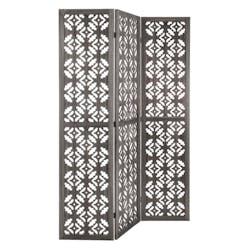 Paravent en bois ajouré coloris gris 120x170cm