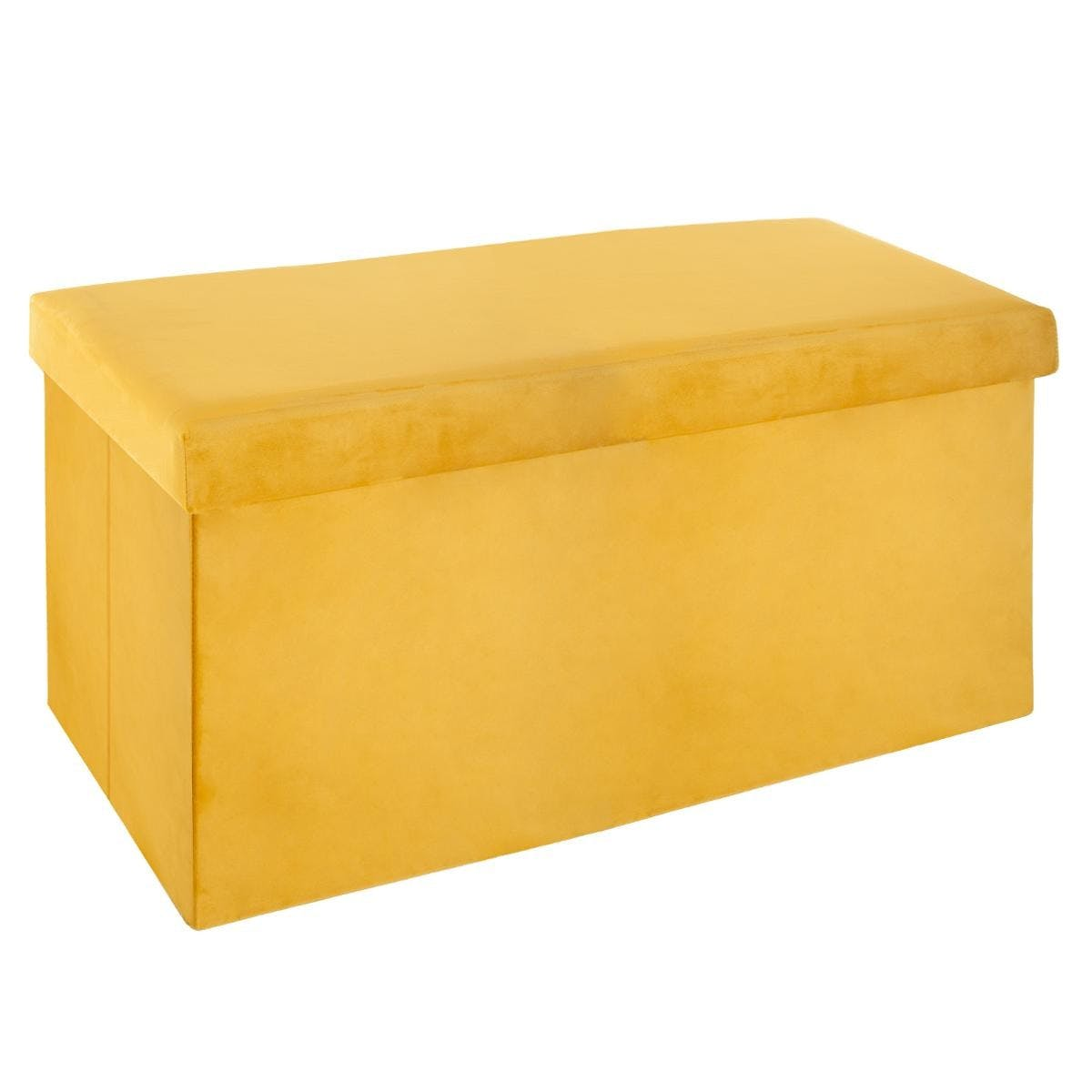 Banc coffre de rangement pliant revêtement en velours jaune 76x38x37cm