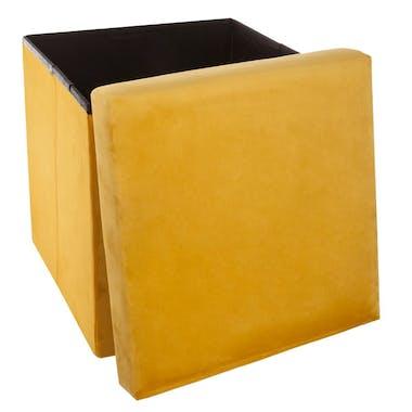 Pouf coffre pliable revêtement en velours jaune 38x38cm