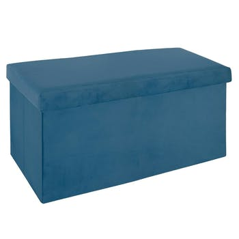 Banc coffre de rangement pliant revêtement en velours bleu 76x38x37cm