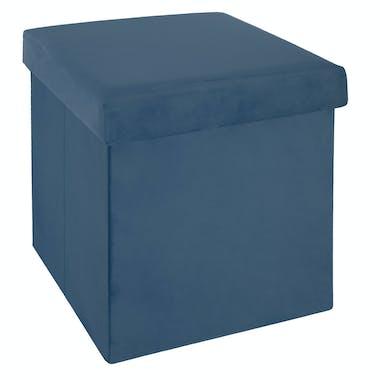 Pouf coffre pliable revêtement en velours bleu 38x38cm